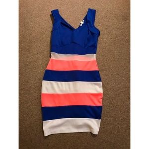 Color block body con mini dress